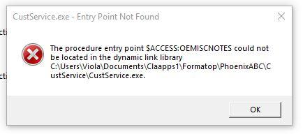 EntryPointNotFound